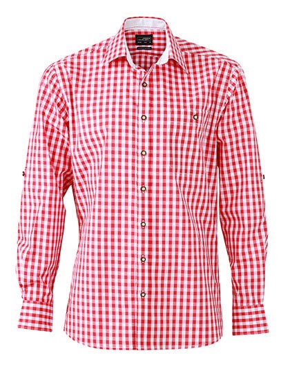 Men`S Traditional Shirt - Red / White / XXL