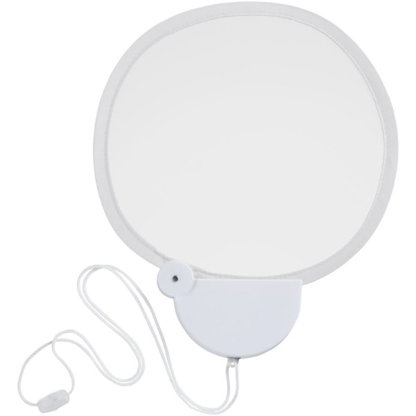 Breeze foldable hand fan with cord - White