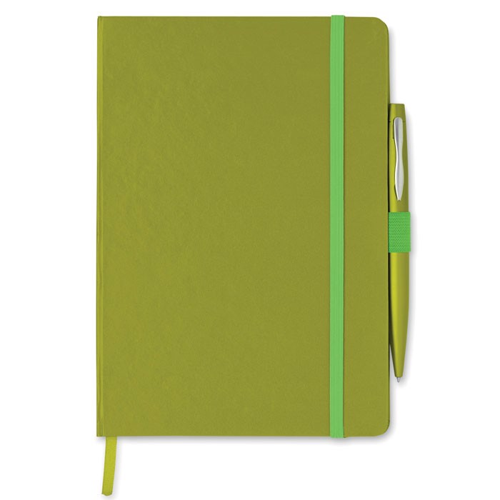 Notes A5 z długopisem Notaplus - limonka