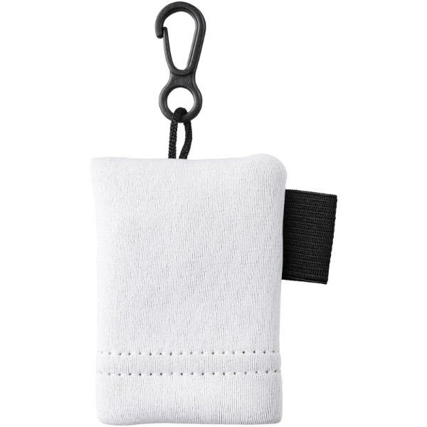 Clear microfiber cleaning cloth in pouch - White
