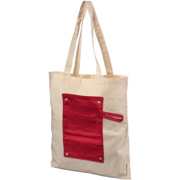 Snap 180 g/m² roll-up buttoned cotton tote bag - Red