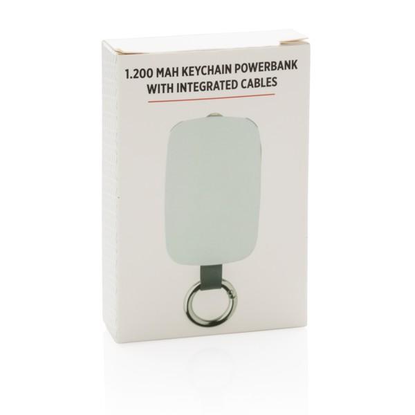 Powerbanka na klíčence s integrovanými kabely 1 200 mAh - Bílá