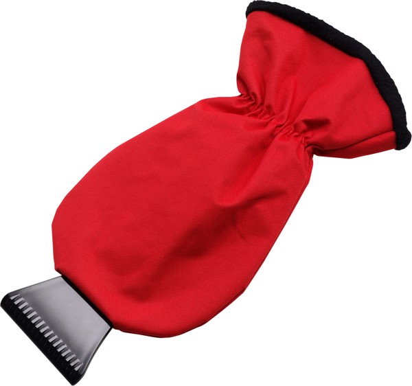 ABS ice scraper and polyester glove - Red