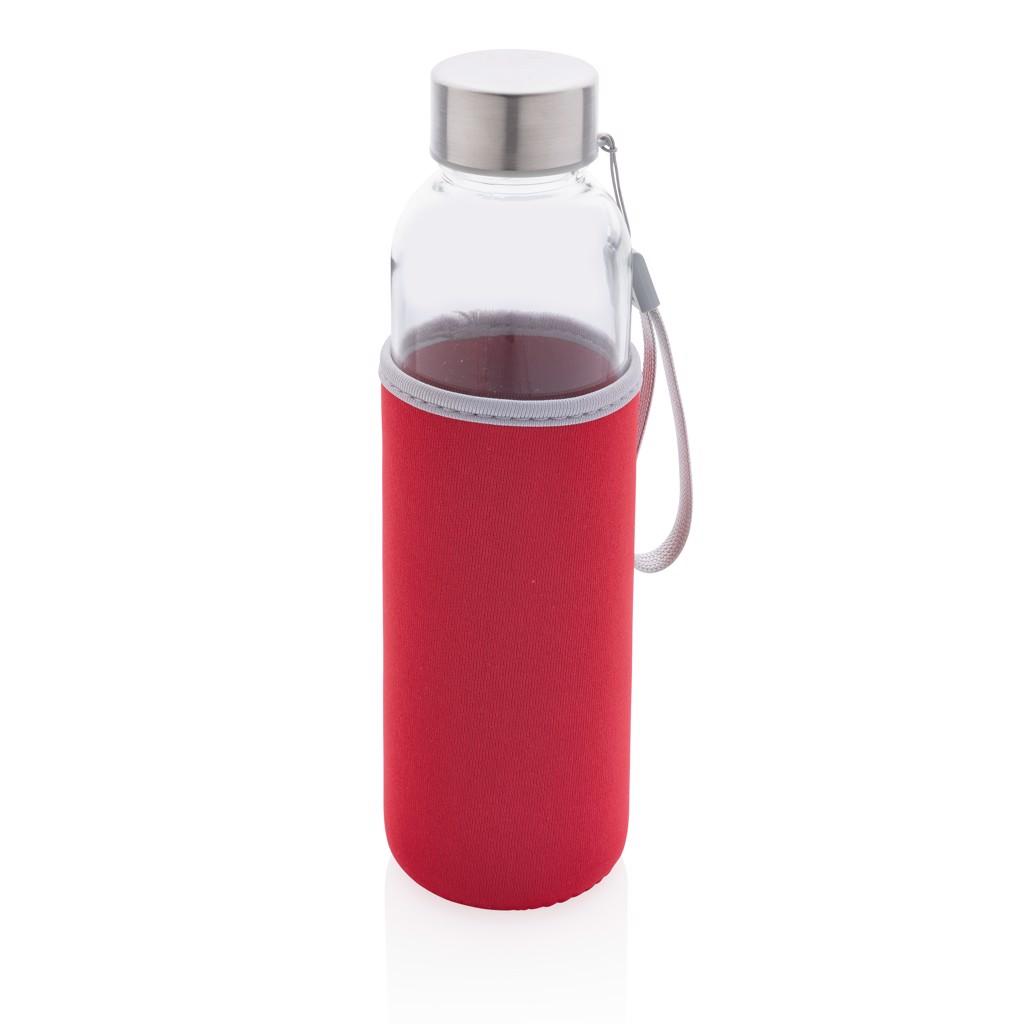 Skleněná lahev v neoprenovém obalu - Červená