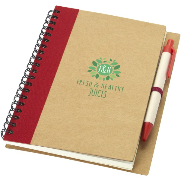 Priestly A6 Recycling Notizbuch mit Stift - Natur / Rot