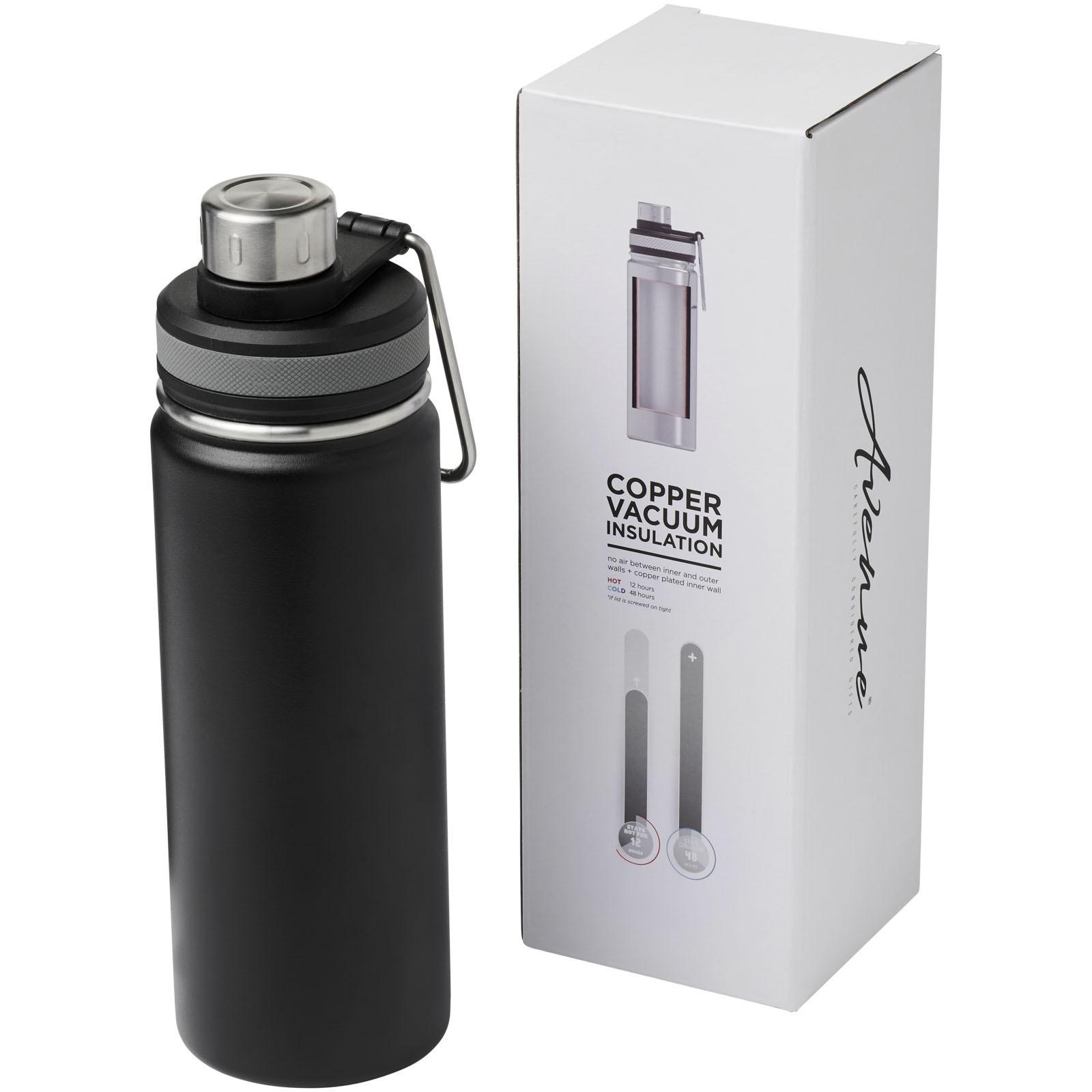 Gessi 590 ml copper vacuum insulated sport bottle - Solid black