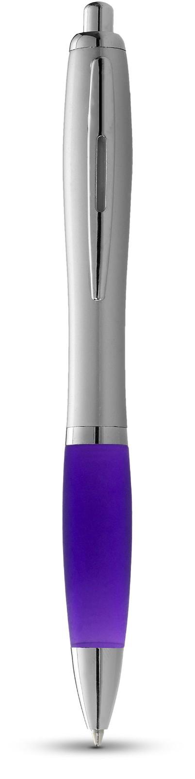 Nash Kugelschreiber silbern mit farbigem Griff - Lila / Silber