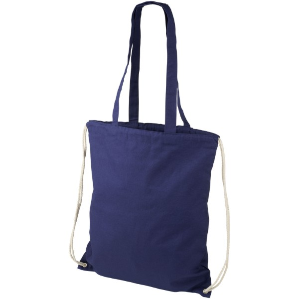 Eliza 240 g/m² cotton drawstring backpack - Navy