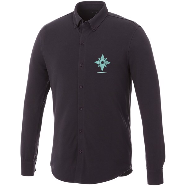 Bigelow long sleeve men's pique shirt - Storm grey / XS