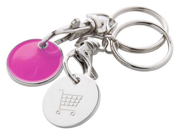 Přívěšek Na Klíče Se Žetonem Euromarket - Růžová