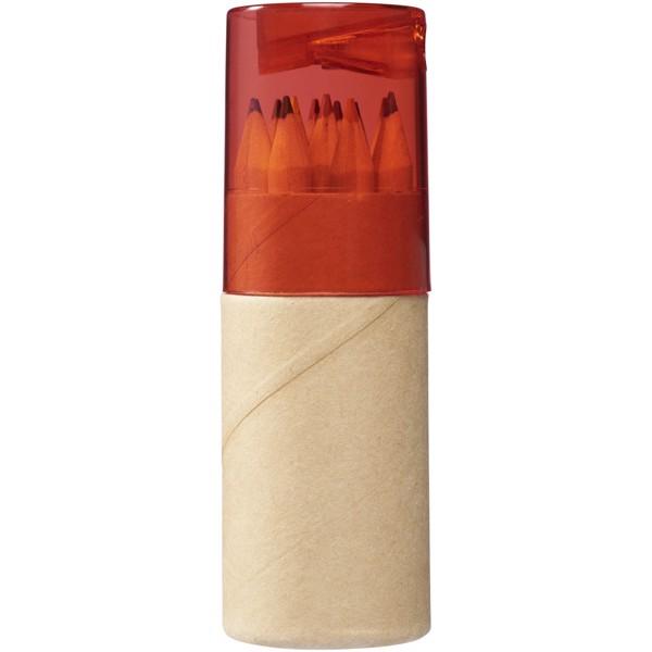 Hef 12-teiliges Buntstiftset mit Anspitzer - Rot