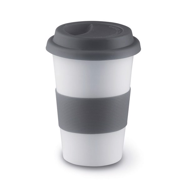 Ceramic mug w/ lid and sleeve Tribeca - Grey