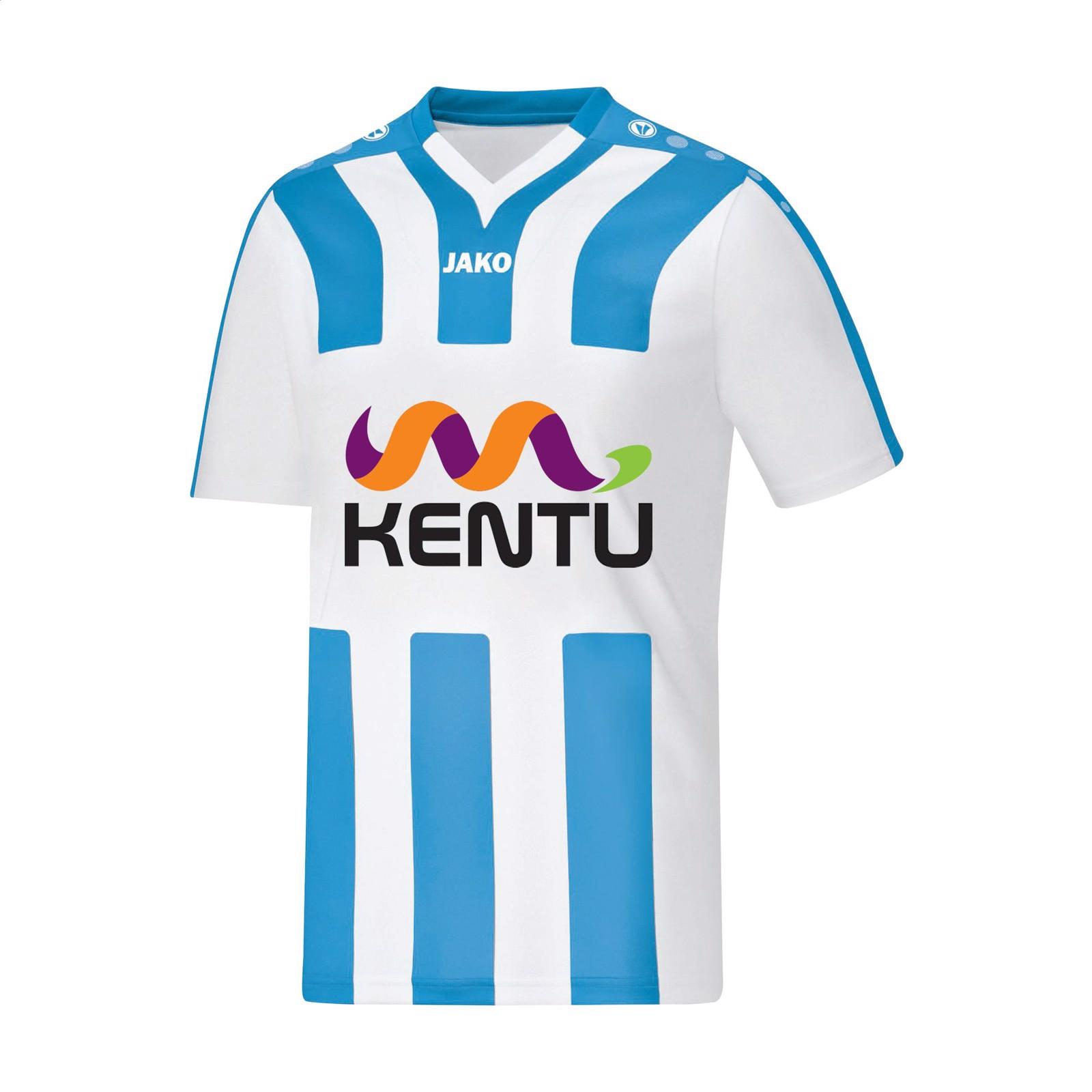 Jako® Shirt Santos KM mens sportshirt - White / Turquoise / S