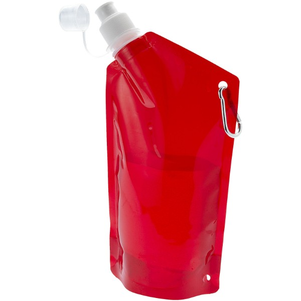 Cabo 600 ml water bag with carabiner - Transparent red