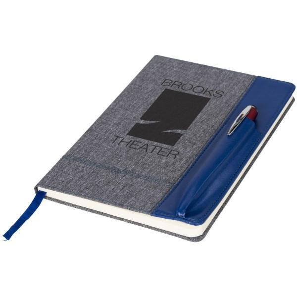 Poznámkový blok A5 s koženkovým vzhledem Heathered - Modrá