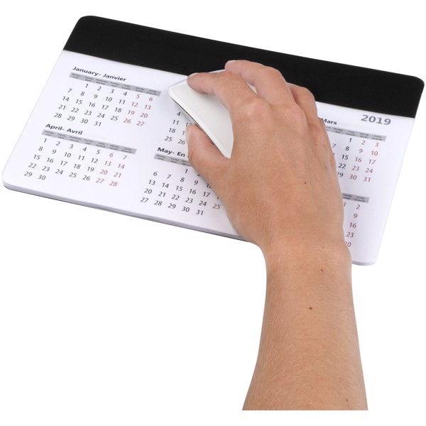 Chart mouse pad with calendar - Solid black