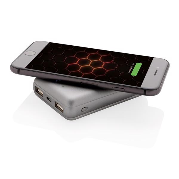5000 mAh powerbank 5W-os vezeték nélküli töltéssel - Ezüst Színű