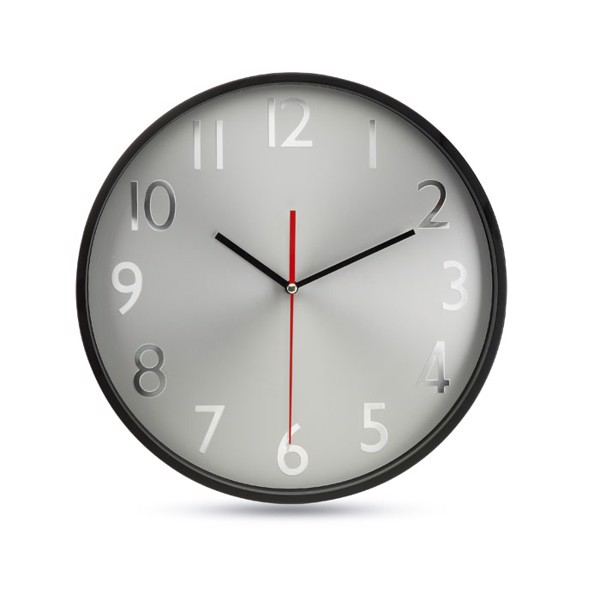 Wall clock w silver background Rondo