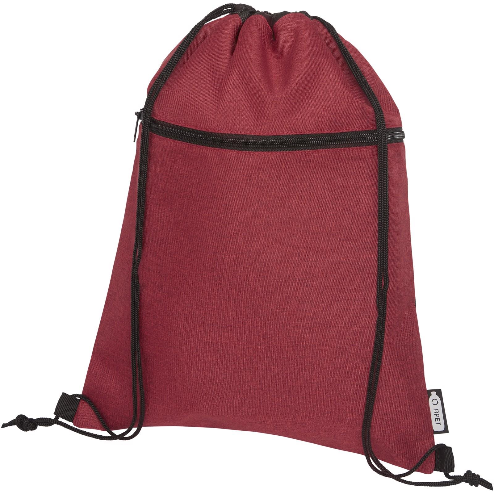 Ross RPET drawstring backpack - Heather dark red
