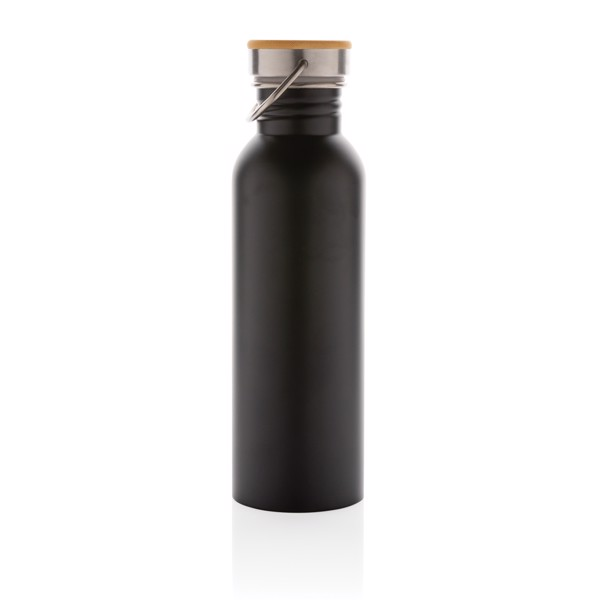 Modern stainless steel bottle with bamboo lid - Black