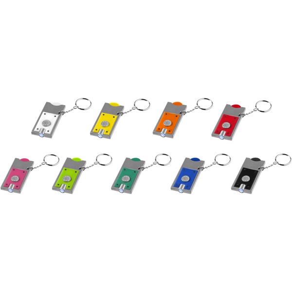 Allegro LED keychain light with coin holder - Red / Silver