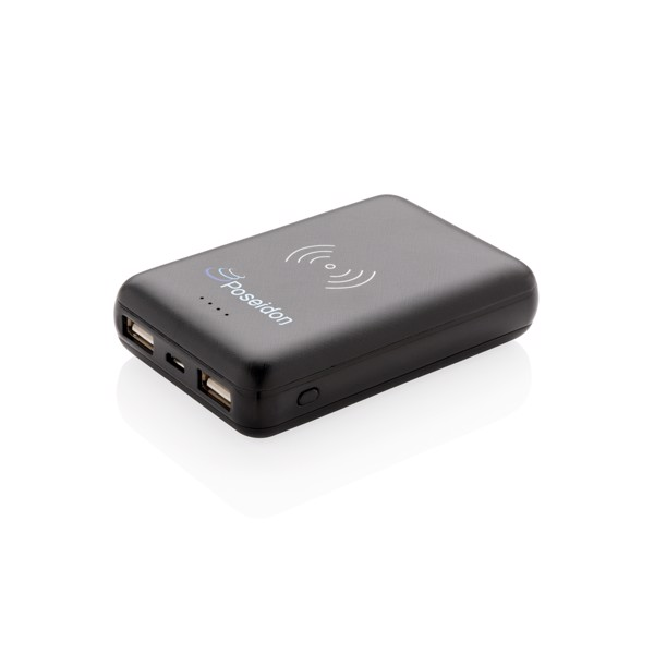 5000 mAh powerbank 5W-os vezeték nélküli töltéssel - Fekete