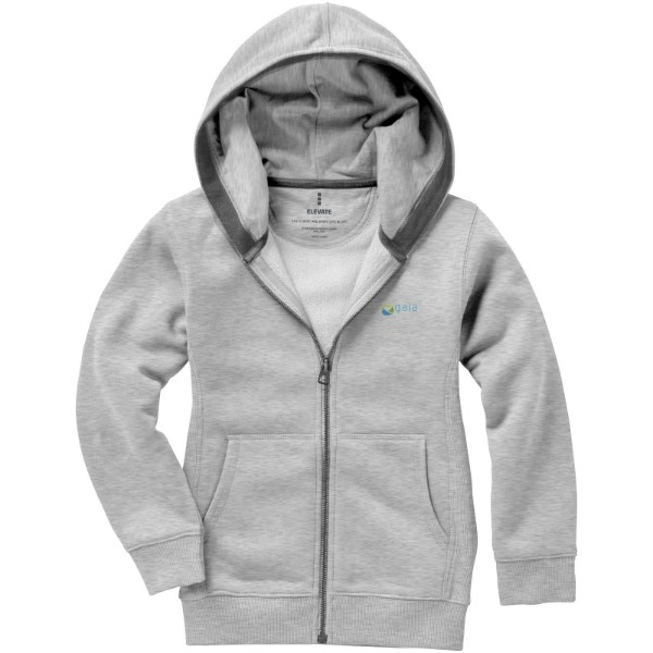 Arora hooded full zip kids sweater - Grey Melange / 116
