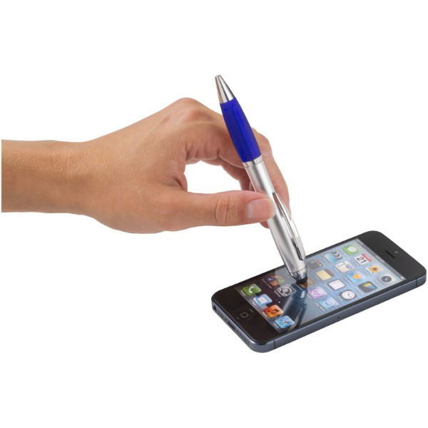 Kuličkové pero a stylus Nash s barevným úchopem - Stříbrný / Modrá