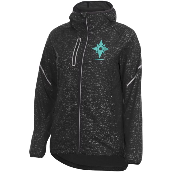 Signal reflective packable ladies jacket - Solid Black / L