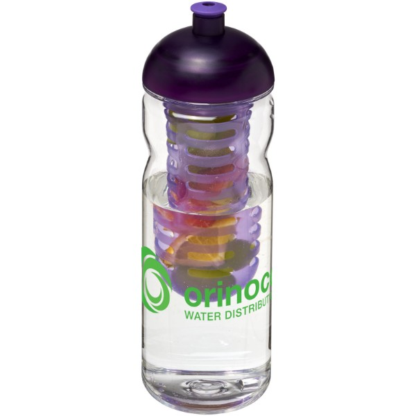 H2O Base Tritan™ 650 ml dome lid bottle & infuser - Transparent / Purple
