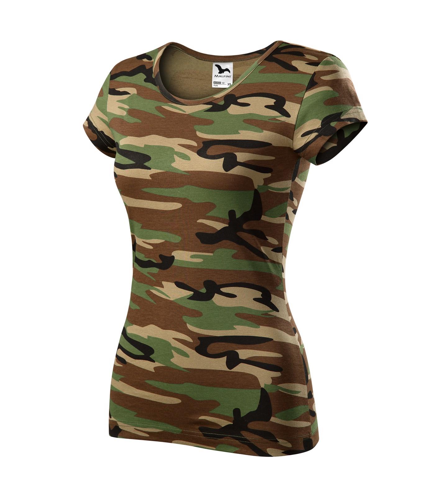 Tričko dámské Malfini Camo Pure - Camouflage Brown / XS