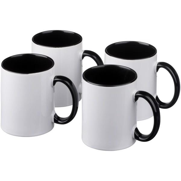 Ceramic Geschenkset mit 4 Bechern mit Sublimationsdruck - Schwarz