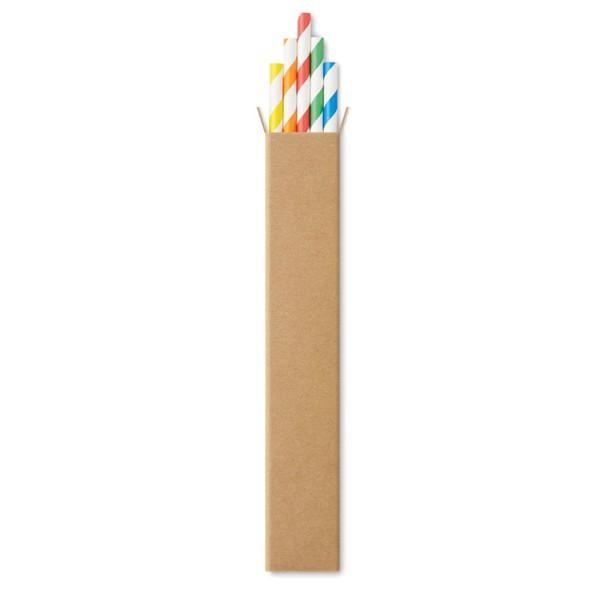 10 paper straws in Kraft box - Multicolour