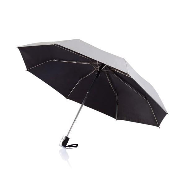 "Deluxe 21,5"" 2 in 1 auto open/close umbrella - Silver / Black"