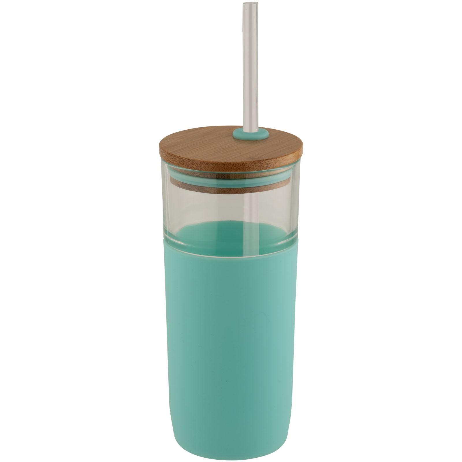 """Vaso de vidrio de 600 ml con tapa de bambú """"Arlo"""" - Verde nenta"""