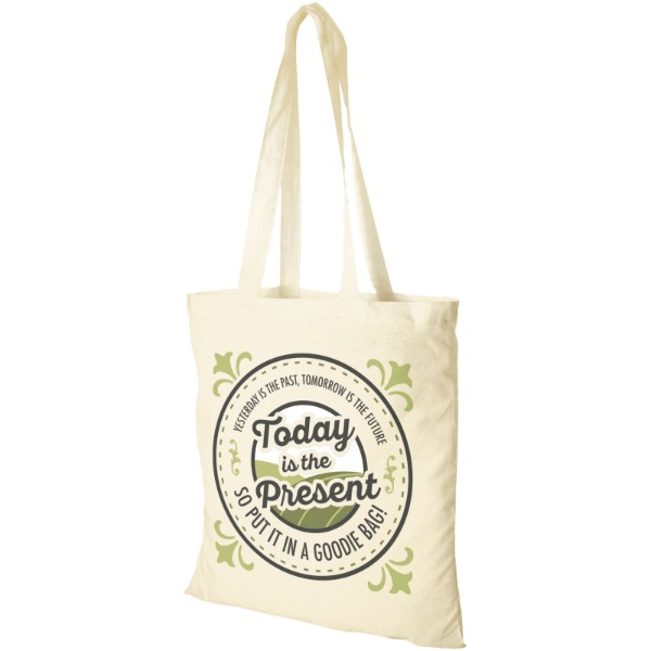 Madras 140 g/m² cotton tote bag - Natural
