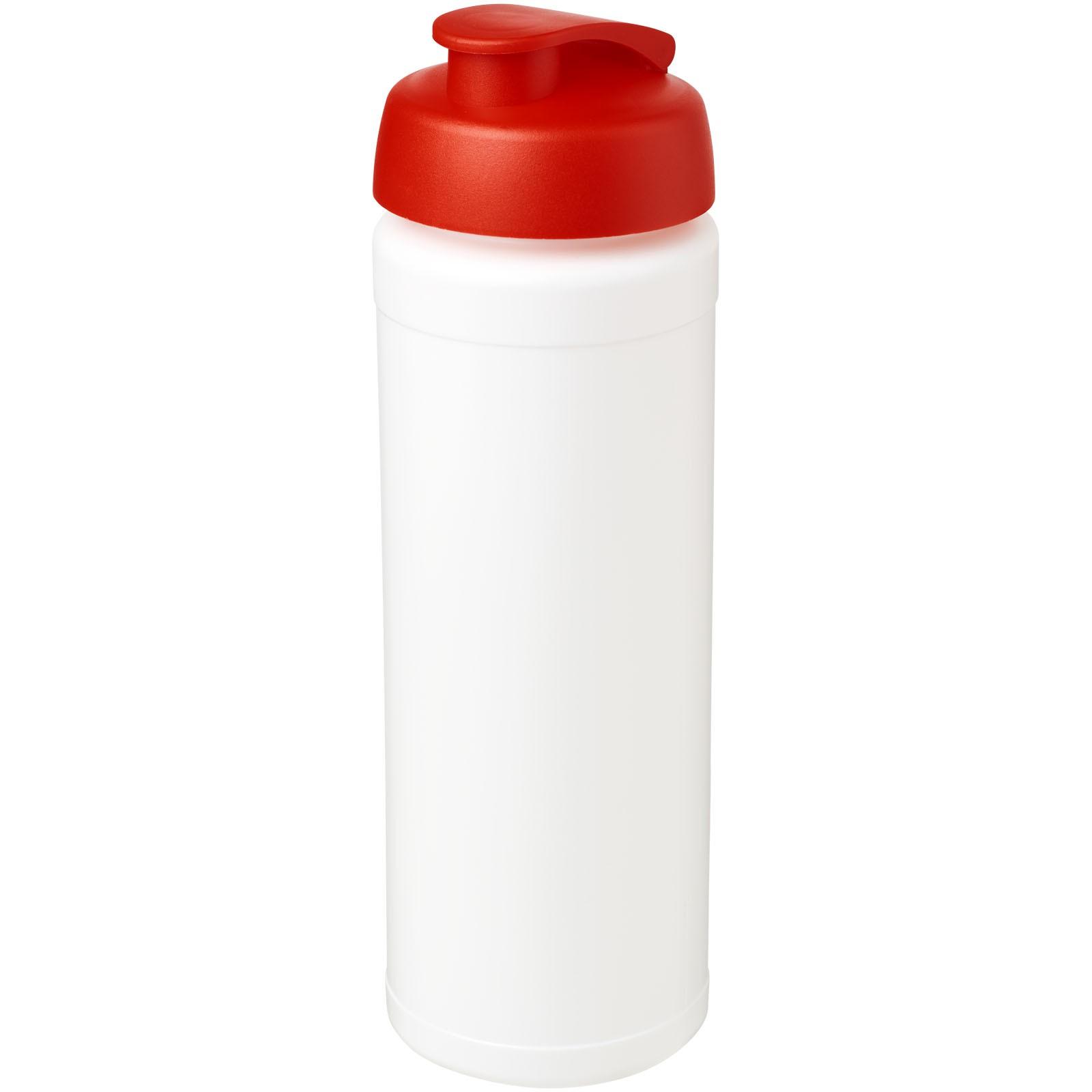 Sportovní láhev s vyklápěcím víčkem Baseline® Plus grip 750 ml - Bílá / Červená s efektem námrazy