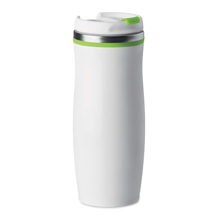 400 ml double wall SS mug White - Lime