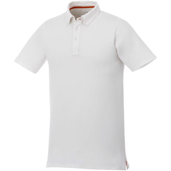 Atkinson short sleeve button-down men's polo - White / XL