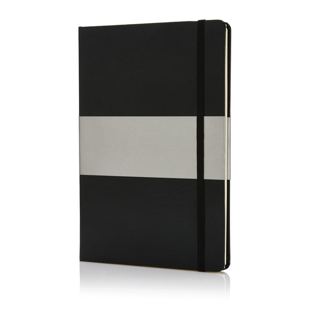 Poznámkový blok A5 spevnými deskami - Černá