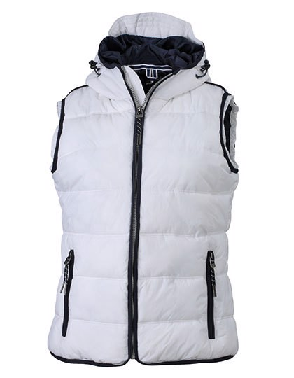 Ladies` Maritime Vest - White / Navy / L