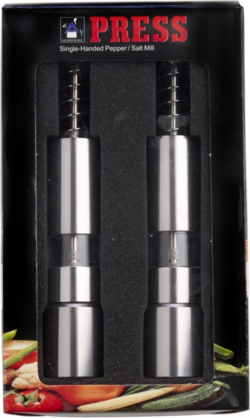 Stainless steel salt and pepper mill