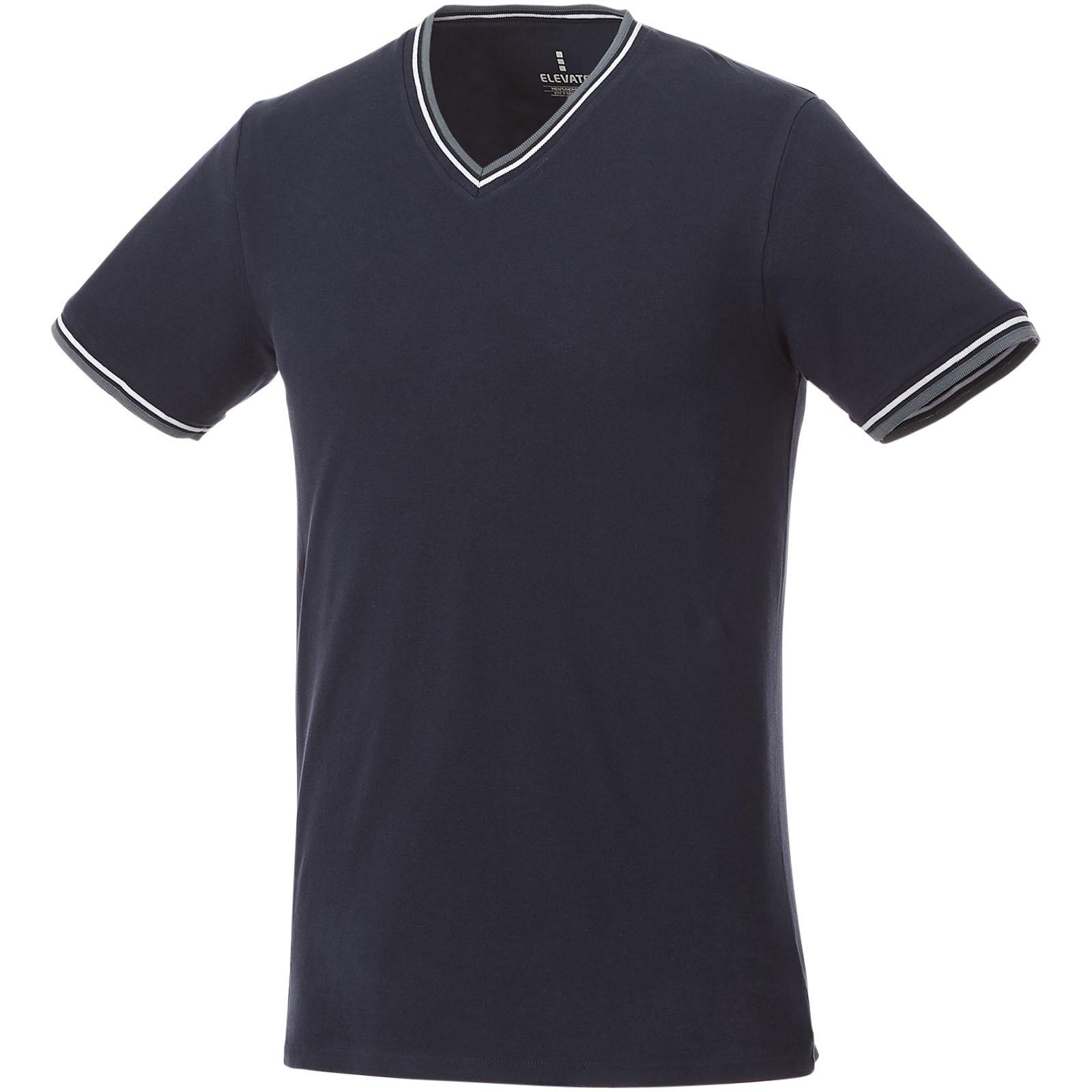Elbert short sleeve men's pique t-shirt - Navy / Grey melange / White / XXL