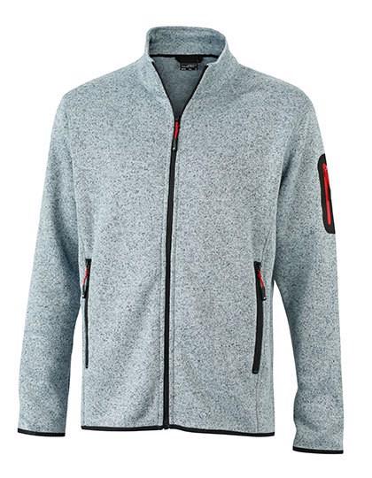 Men`S Knitted Fleece Jacket - Light Grey Melange / Red / 3XL