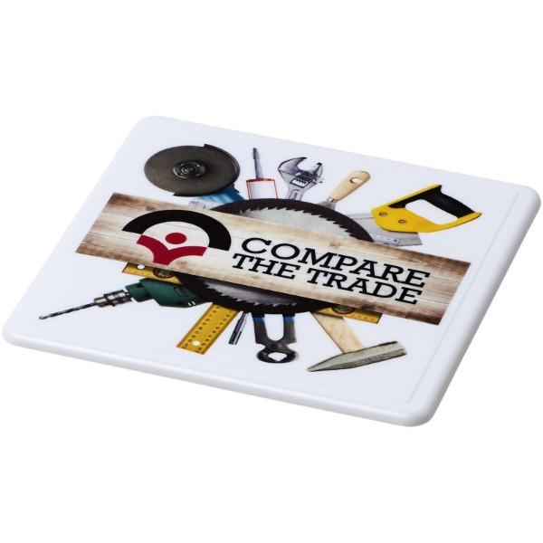Renzo square plastic coaster - White
