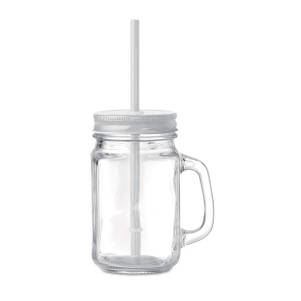 Glass Mason jar with straw Tropical Twist - White