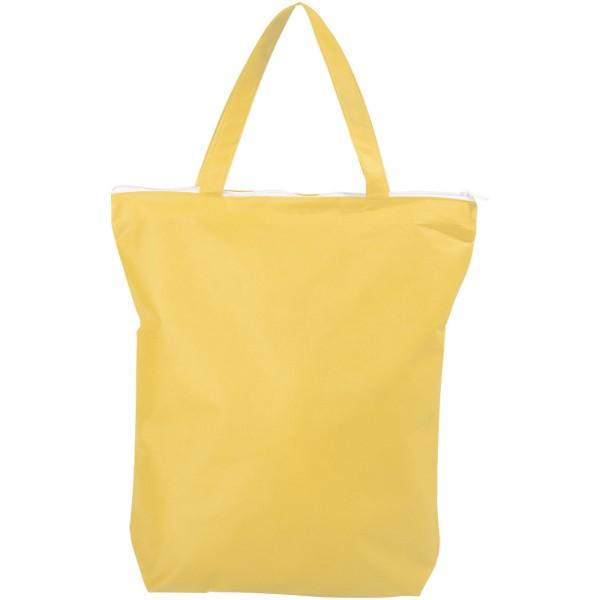 Privy zippered short handle non-woven tote bag - Yellow