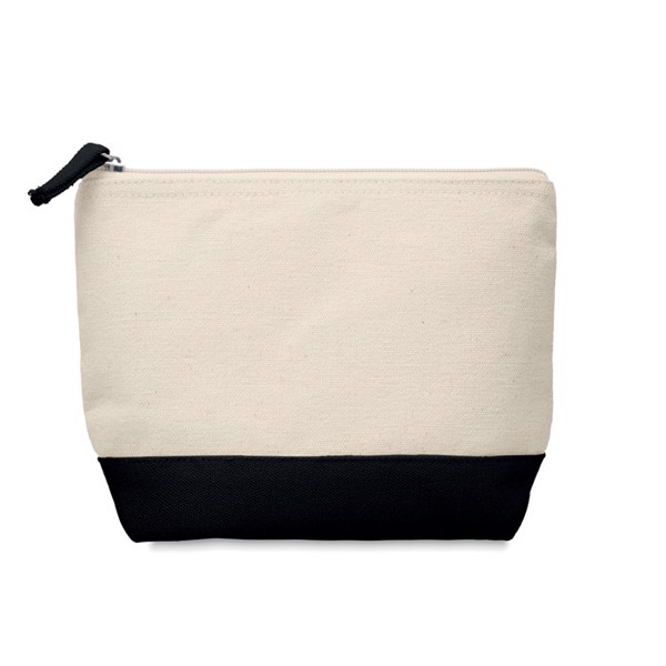 Bicolour cotton cosmetic bag Kleuren - Black