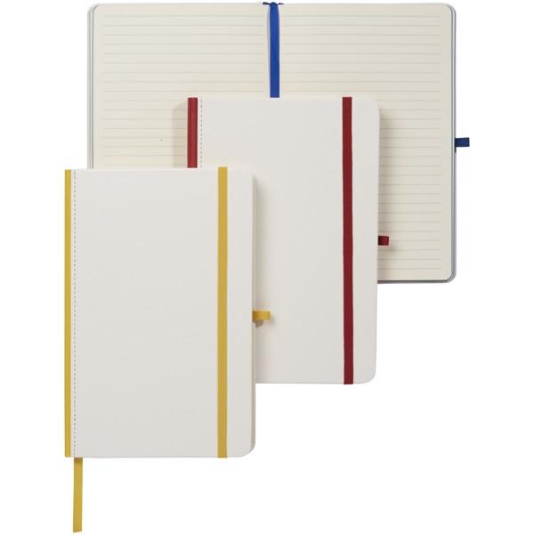 Zápisník s PU obalem pro digitální tisk a barevným hřbetem - Bílá / Světle modrá