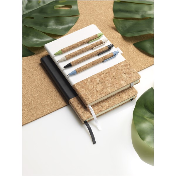 Midar cork and wheat straw ballpoint pen - Natural / Solid Black